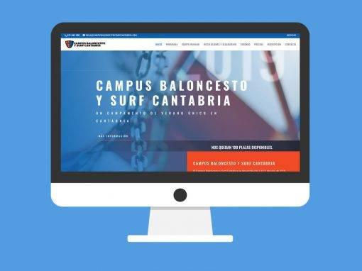 Página web Campus Baloncesto y Surf Cantabria